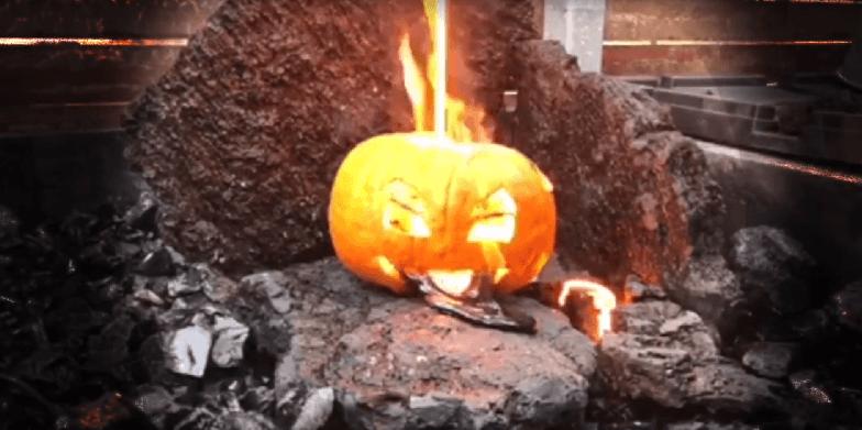 Pumpkin vs. Lava Because Halloween