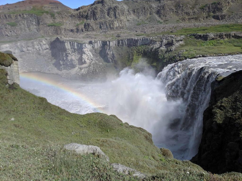 Hafragilsfoss waterfall is one of the beautiful sights when you are hiking the Jökulsárgljúfur canyon