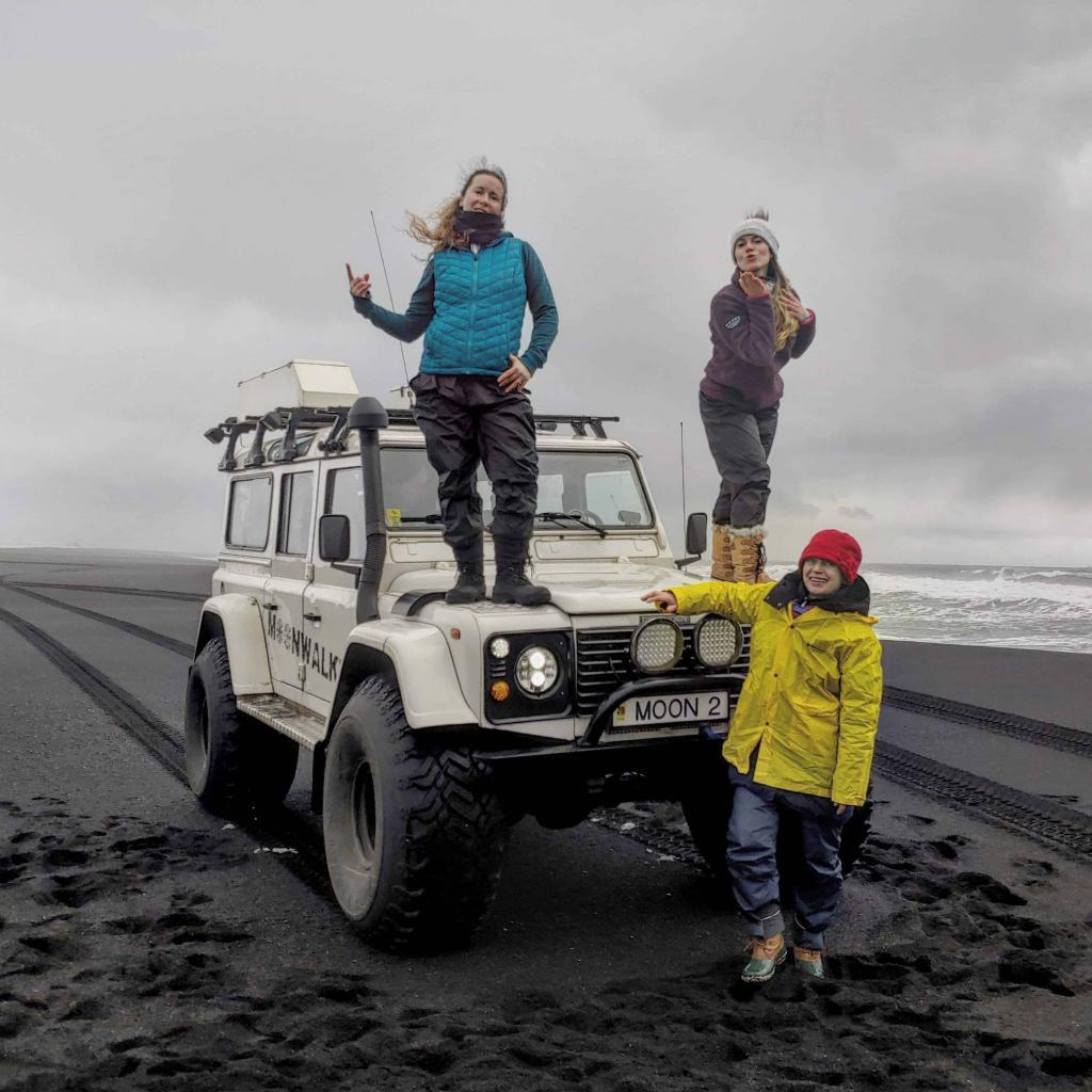 Moonwalker Land Rover on Reynisfjara beach on a super jeep south coast tour.