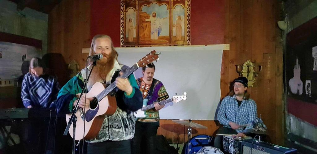 Teitur Magnusson and his band, Æðisgengið, perform at the church in Selárdalur in the Westfjords