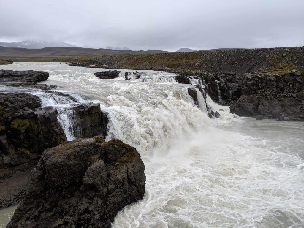 Gýgjarfoss waterfall in the glacial river Jökulfall.